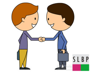 two businessman shaking hands clipart