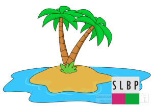small island with palm tree clipart